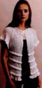 Белый летний жакет, связанный спицами