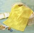 Детский желтый плед, связанный спицами. Описание + схема