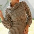Женский пуловер с косами, связанный спицами. Описание + схема