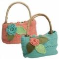 Летняя сумка с цветком и листиками, связанная крючком. Описание + схемы