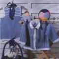Голубой жакет, связанный спицами, на ребенка 1-2 лет. Описание + схемы