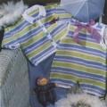 Полосатая кофточка на ребенка 6 месяцев и 1 года, связанная спицами. Подробное описание