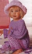 Сиреневый пуловер на ребенка 1,5-3 лет, связанный спицами. Описание + схема