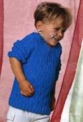 Детский синий пуловер на ребенка от 1,5 до 4 лет, связанный спицами. Описание + схемы