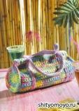 Летняя сумка-коктейль, связанная крючком. Описание + схемы