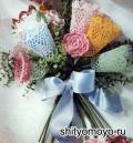 Поделки своими руками: букет цветов, связанный крючком. Описание + схемы