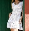 Летнее белое платье, связанное крючком. Описание + схемы