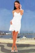 Белое летнее платье с бретельками, связанное крючком. Описание + схемы