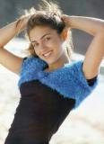 Женское голубое болеро, связанное крючком пряжей Травка. Описание и схемы вязания бесплатно