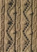 Аранское вязание: узор спицами 17 - зигзагообразные линии с шишечками. Описание + схемы