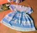 Белое платье с жаккардовым узором на девочку на 1-2 года, связанное спицами. Подробное описание