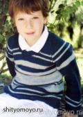 Полосатый пуловер на мальчика 3, 4 и 5-ти лет, связанный спицами. Описание + выкройки