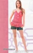 Ярко-розовая летняя туника, связанная крючком. Описание + схемы