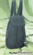 Зеленый рюкзак, связанный крючком своими руками. Описание + схема