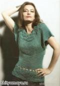 Зеленая блузка-кимоно, связанная крючком. Описание + схемы