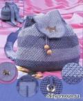 Фиолетово-сиреневый полосатый рюкзак, связанный крючком своими руками. Подробное описание