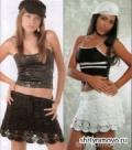 Летняя черная и белая юбка, связанная крючком. Описание + схемы