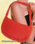 Красная летняя сумка, связанная спицами. Описание + схема