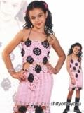 Детская розово-черная юбка, связанная крючком. Описание + схема