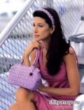 Сиреневые сумочка и повязка для волос, связанные крючком. Описание + схемы