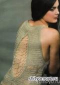 Летняя блузка с открытой спиной, связанная крючком. Описание + схема