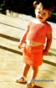 Летняя детская маечка, связанная крючком на девочку на 4-6 лет. Описание + схемы