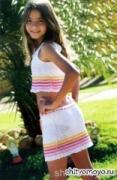 Детская летняя юбка на девочку 10 лет, связанная крючком. Описание + схемы