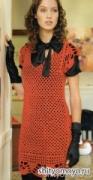 Красное платье, связанное крючком сеткой. Описание + бесплатные схемы