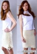 Бесплатное вязание спицами и крючком: бежевая юбка. Описание + схемы