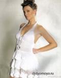 Бесплатное вязания крючком: летнее белое платье с оборками. Описание + схемы