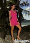 Бесплатное вязание спицами и крючком: розовое летнее мини платье