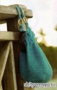 Вязание спицами бесплатное: летняя бирюзовая сумка. Подробное описание