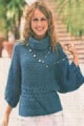Пуловер-кимоно, связанный спицами