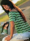 Бесплатные модели вязания крючком: зеленая летняя блузка в стиле Кармен