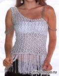 Бесплатные модели схемы вязание крючком: серебристая маечка с одним плечом