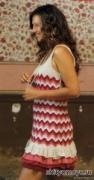 Бесплатные модели вязания крючком: полосатое платье с воланами