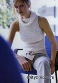 Бесплатные модели и схемы вязания крючком: белая кофточка с воротником хомут