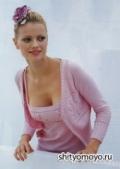 Вязание спицами модели схемы бесплатно: розовая кофточка с цветами