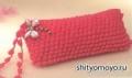 Бесплатные модели и схемы вязания крючком: розовый клатч узором попкорн