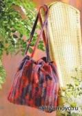 Вязание крючком схемы модели бесплатно: меланжевая сумка