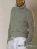 Вязание для мужчин спицами бесплатно: серый свитер