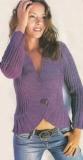 Жакет с закруглениями, связанный спицами