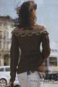 Схемы вязания спицами бесплатно: коричневая блузка в стиле Кармен