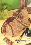 Вязание крючком схемы бесплатно: коричневая сумка