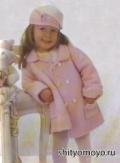 Детские бесплатные модели вязания спицами сл схемами: розовое пальто