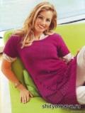 Бесплатное вязание спицами модели и схемы: лиловое мини-платье