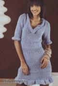 Голубое платье, связанное спицами бесплатно