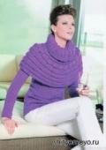 Фиолетовый пуловер, связанный спицами. Описание и схемы бесплатно