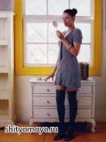 Синее платье, связанное спицами. Описание и схемы бесплатно