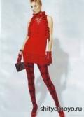 Красный маленький шарф или боа, связанное крючком. Описание бесплатно